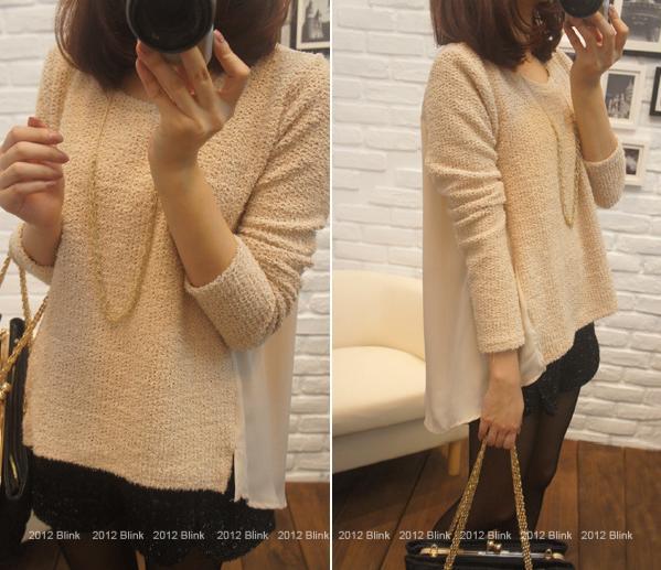 BLINK【Z125533】 柔美好氣色混蔥小開岔拼背部雪紡針織衫-米杏-440-2