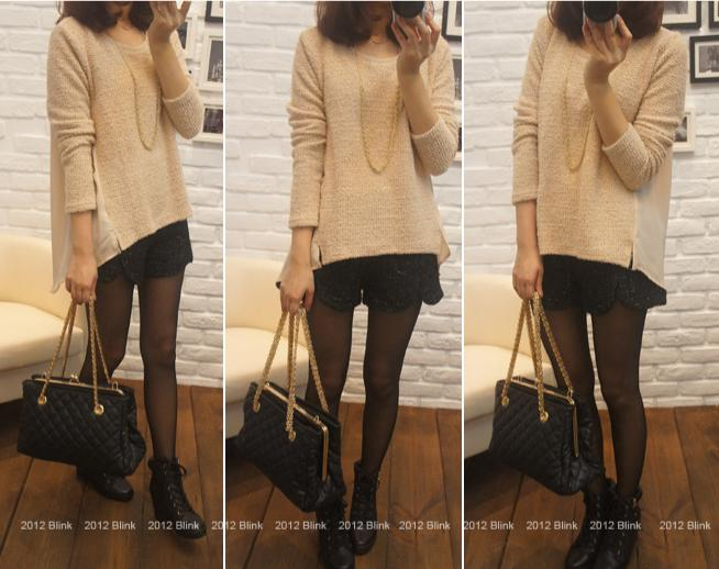 BLINK【Z125533】 柔美好氣色混蔥小開岔拼背部雪紡針織衫-米杏-440-3