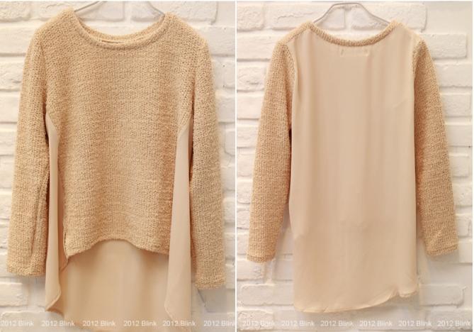 BLINK【Z125533】 柔美好氣色混蔥小開岔拼背部雪紡針織衫-米杏-440-5