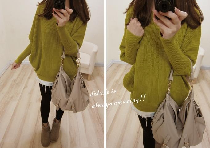 桃樂比【C5027X】寬鬆感縮袖針織上衣-芥綠色-299-2