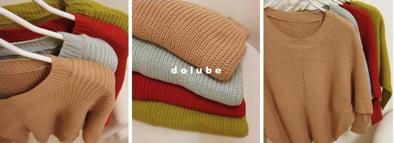 桃樂比【C5027X】寬鬆感縮袖針織上衣-芥綠色-299-3