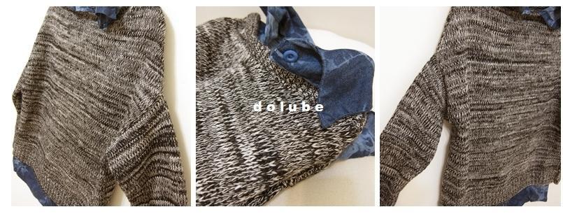 桃樂比【C5028X】假兩件丹寧內襯混色針織上衣-350-3