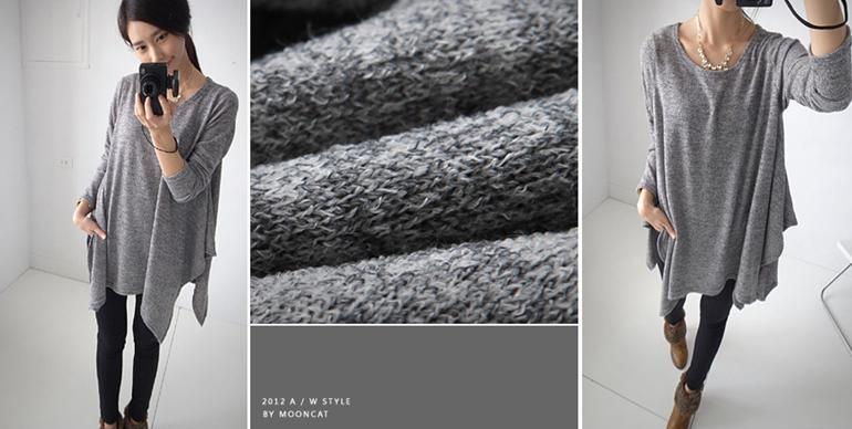 貓咪曬月亮【A12128L】Korea.正韓空運 傘擺混色針織上衣-麻灰色-399-2