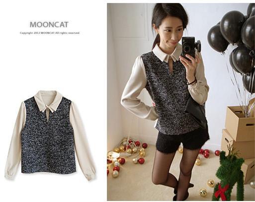 貓咪曬月亮【A12318L】設計領釦異材拼接厚料襯衫-380-1