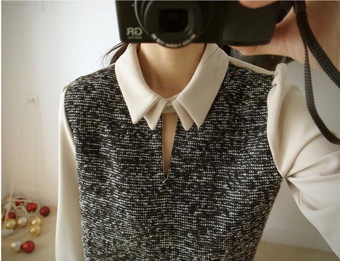貓咪曬月亮【A12318L】設計領釦異材拼接厚料襯衫-380-3