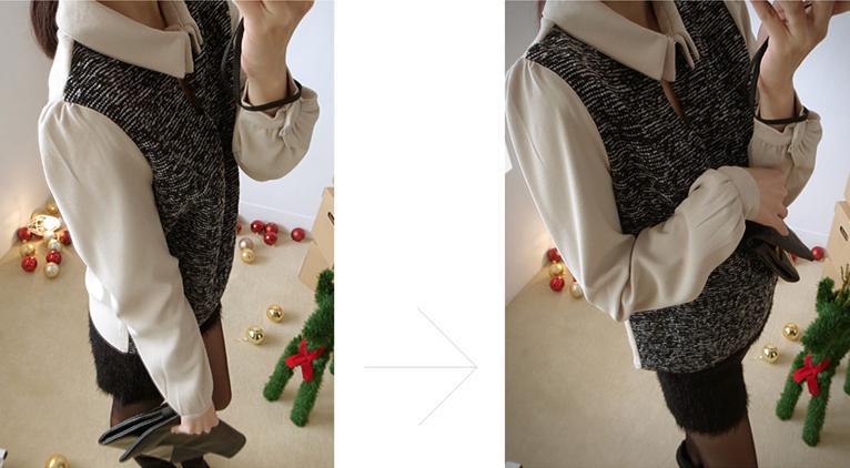 貓咪曬月亮【A12318L】設計領釦異材拼接厚料襯衫-380-5