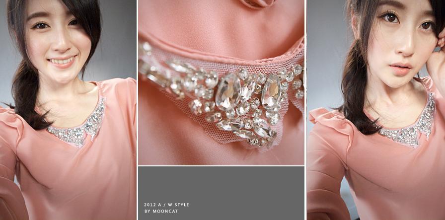 貓咪曬月亮【B11845K】寶石領肩荷葉型質感上衣-粉色360-1