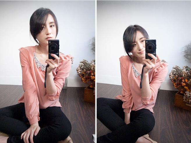 貓咪曬月亮【B11845K】寶石領肩荷葉型質感上衣-粉色360-3