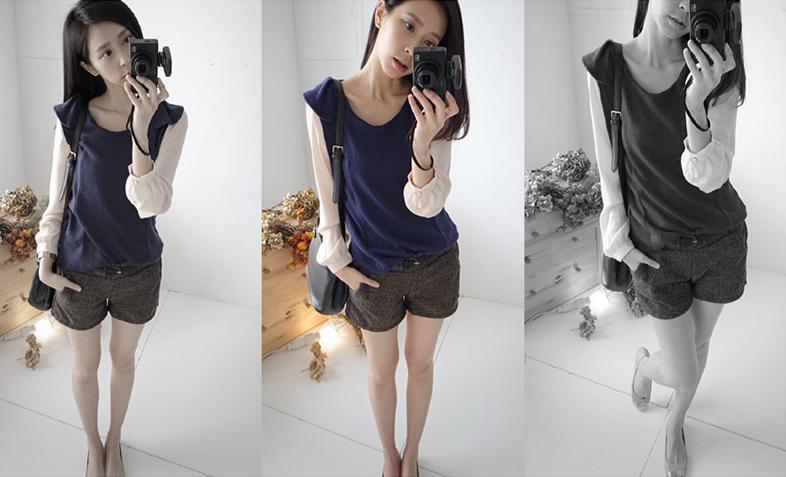 貓咪曬月亮【B12202L】荷葉肩雪紡袖針織上衣-藍色-350-1