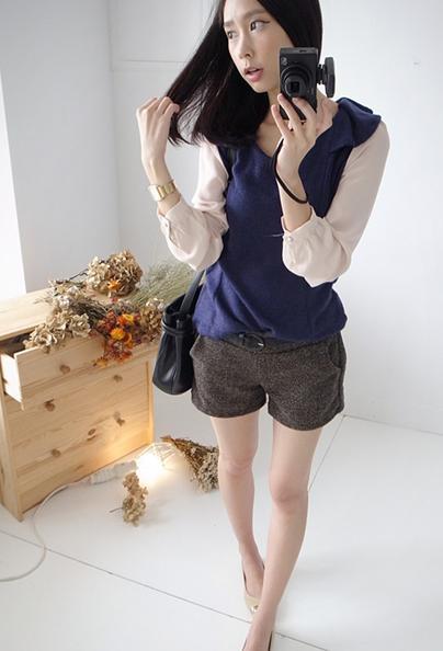 貓咪曬月亮【B12202L】荷葉肩雪紡袖針織上衣-藍色-350-2
