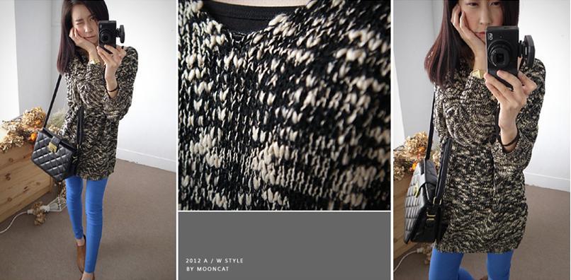 貓咪曬月亮【B12228L】V領參色混紗針織上衣-380-3