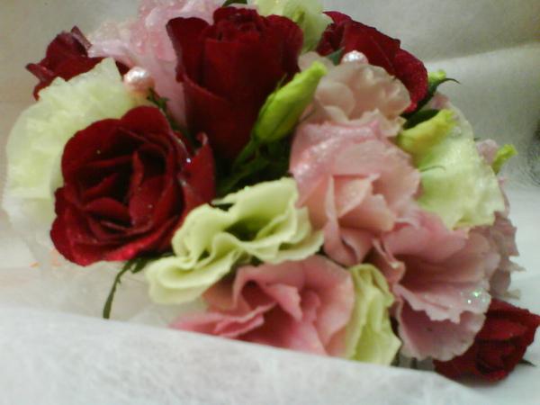 遠遠看真的很像白色以及粉色的玫瑰耶~