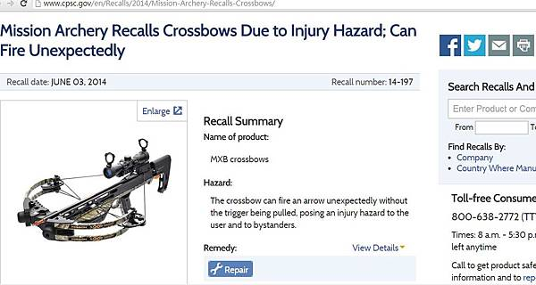 2014-12-04 10_52_33-Mission Archery Recalls Crossbows Due to Injury Hazard; Can Fire Unexpectedly _