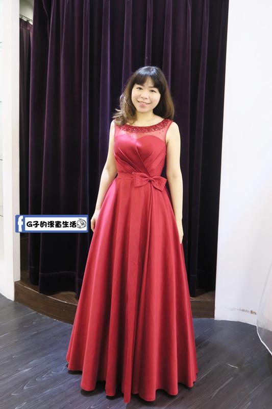最佳風情國際婚紗影城2樓紅色緞帶晚禮服
