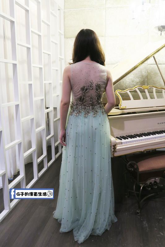 最佳風情國際婚紗影城3樓棚拍透明雪紡湖水綠晚禮服
