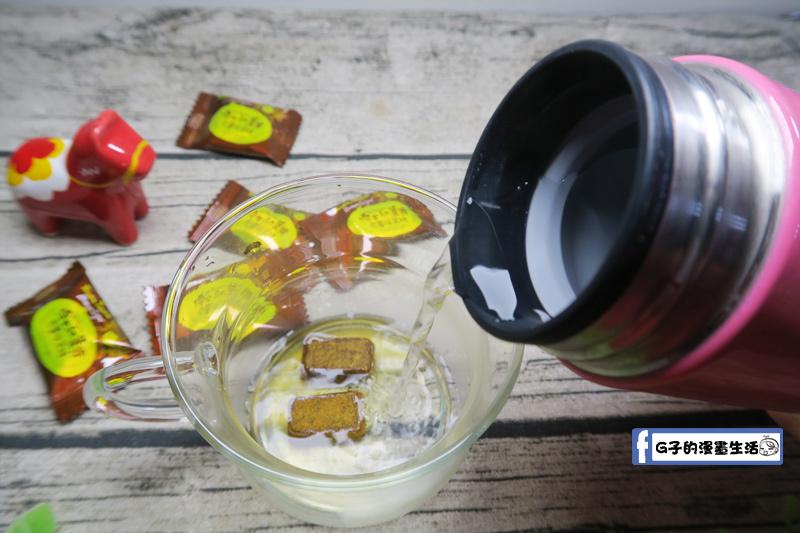 豐滿生技博士紅薑黃-薑黃黑糖-老薑母幾顆 加入熱水沖泡