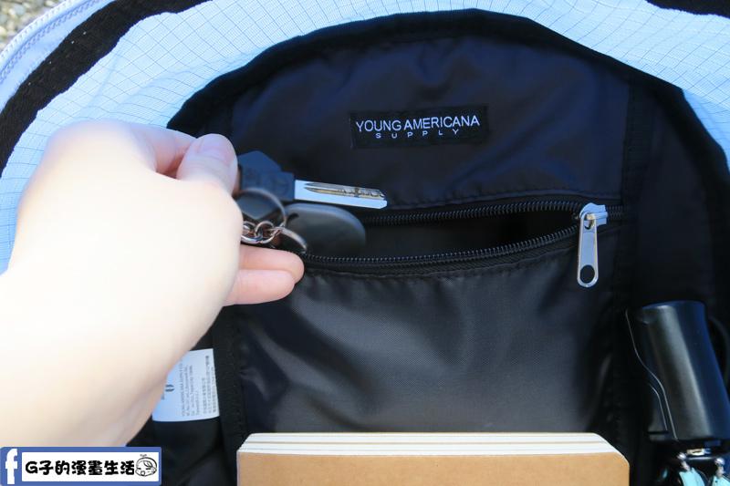 Y.A.S輕量多彩後背包 內有拉鍊夾層