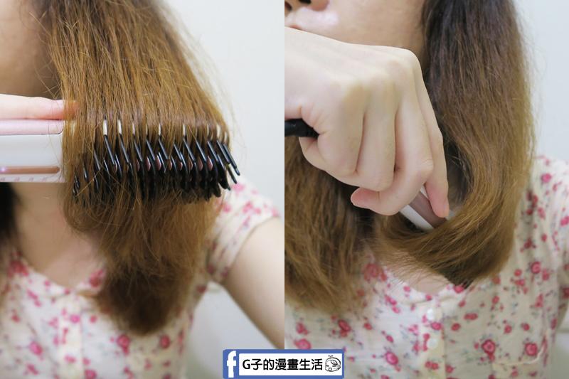Anqueen溫控魔髮造型梳,把頭髮拉直在梳過去就會有點類似離子夾燙直的功用