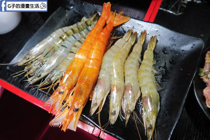 皇上吉饗極品唐風燒肉皇帝鍋 天使紅蝦.藍鑽蝦.白蝦.草蝦香蕉蝦 專人代烤