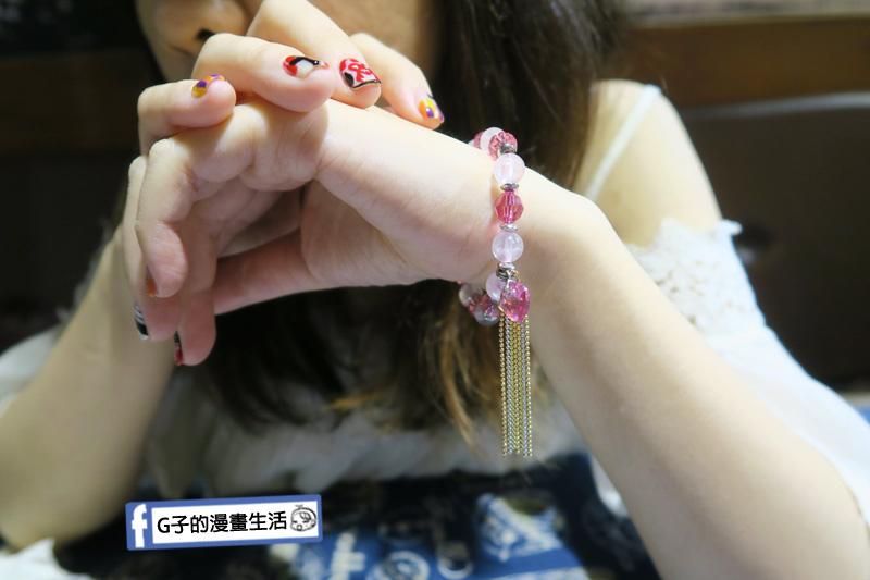 財神小舖  粉晶手鍊.桃花之心手環 有垂墜的吊飾裝飾