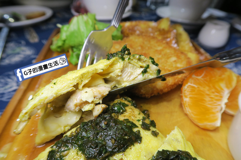永和肥禿子美式餐廳-早午餐 青醬野菇雞肉歐姆蛋