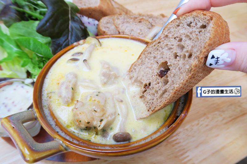 MukoBrunch-永康街早午餐-法式奶油燉雞 沾黑麥麵包