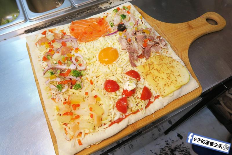 士林愛披薩 ipizza 現做九宮格自由拚披薩 方形披薩  歐洲進口麵粉與初榨橄欖油做的披薩餅皮