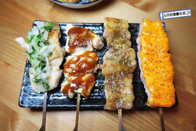 東京串燒。酒場 鹽蔥雞腿肉串.味增雞腿肉串.孜然厚切豚五花串.明太子厚切豚五花串