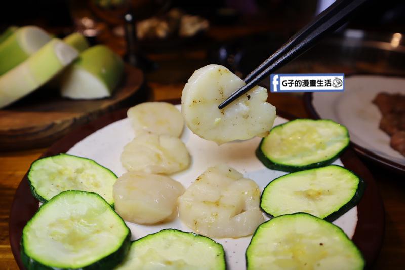 新北三重菜寮-米炭火燒肉小酒館,單點式燒烤.DIY自己烤.生食級干貝