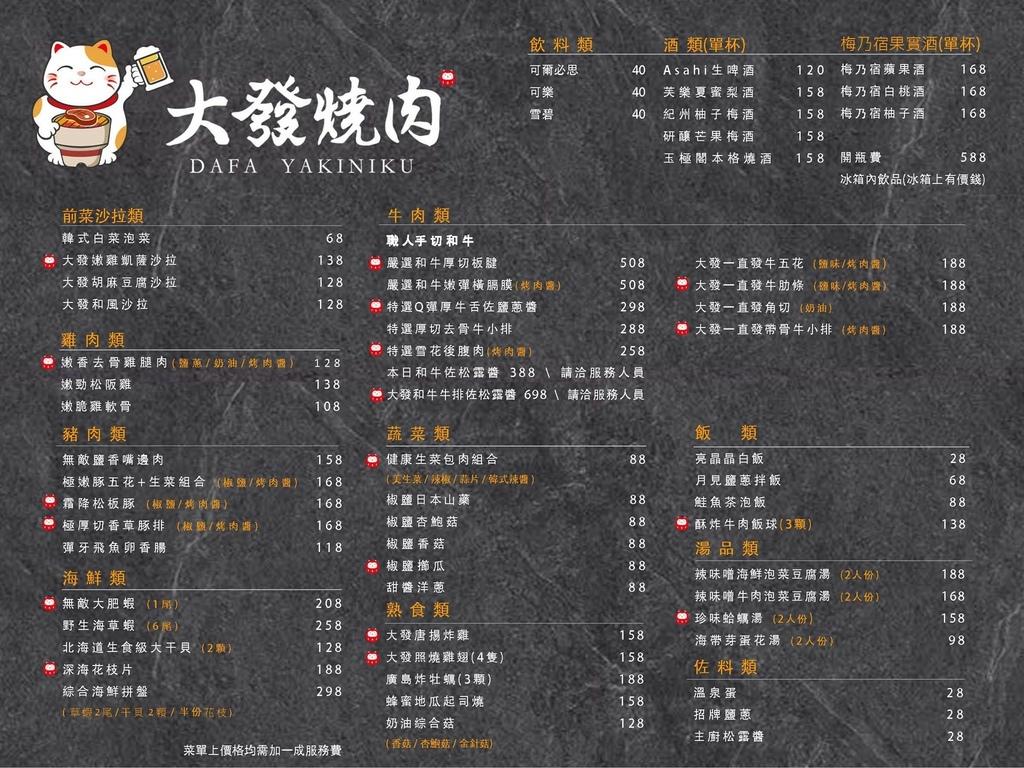 永和大發燒肉菜單menu