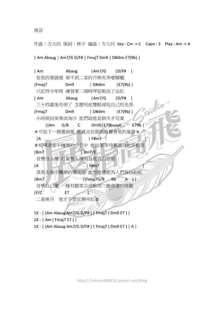( 吉他譜 ) 方大同 - 南音