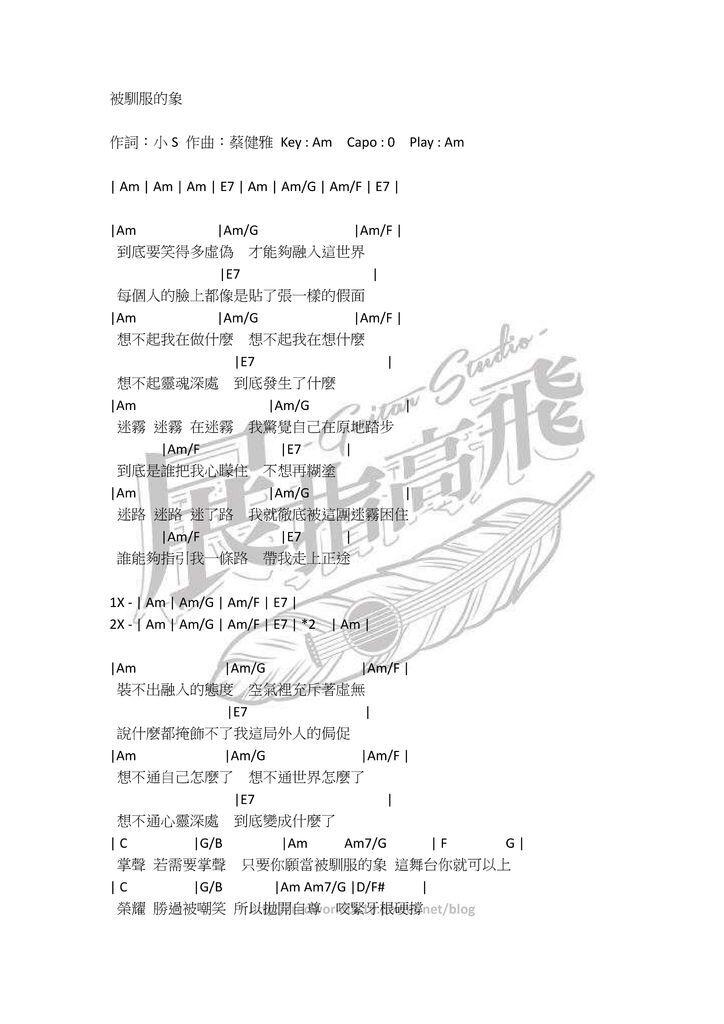 ( 吉他譜 ) 蔡健雅 - 被馴服的象