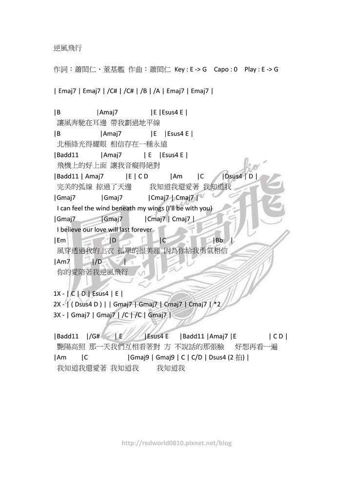 ( 吉他譜 ) 蕭閎仁 - 逆風飛行