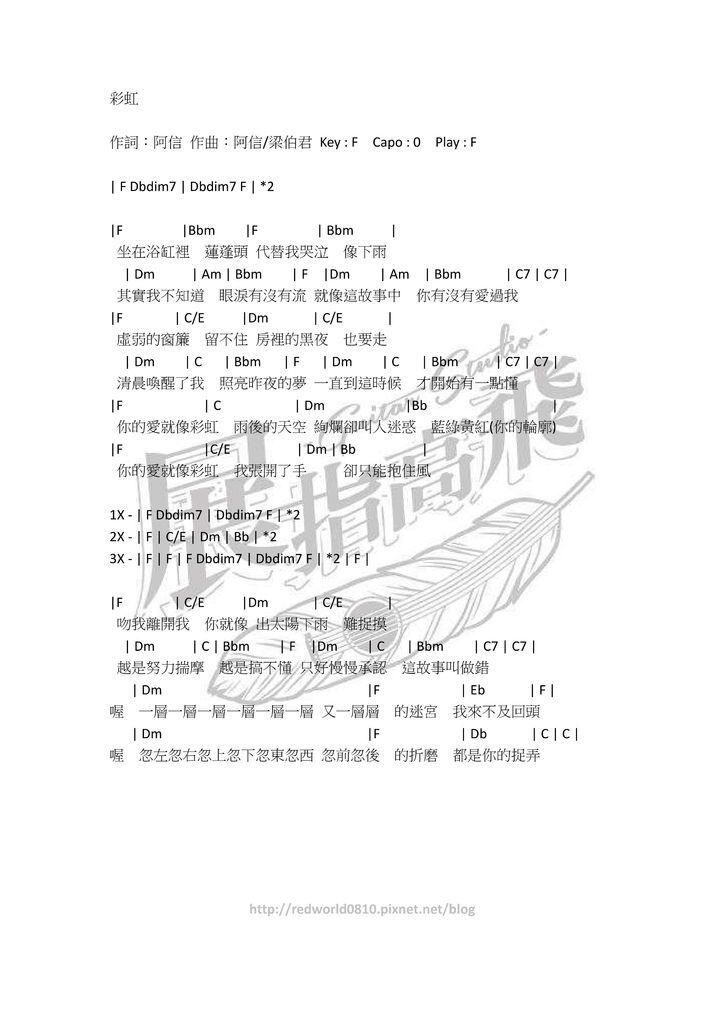 ( 吉他譜 ) 五月天 - 彩虹