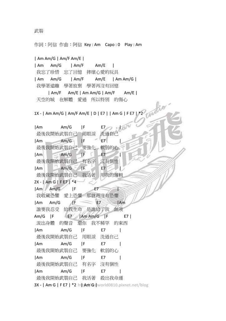 ( 吉他譜 ) 五月天 - 武裝