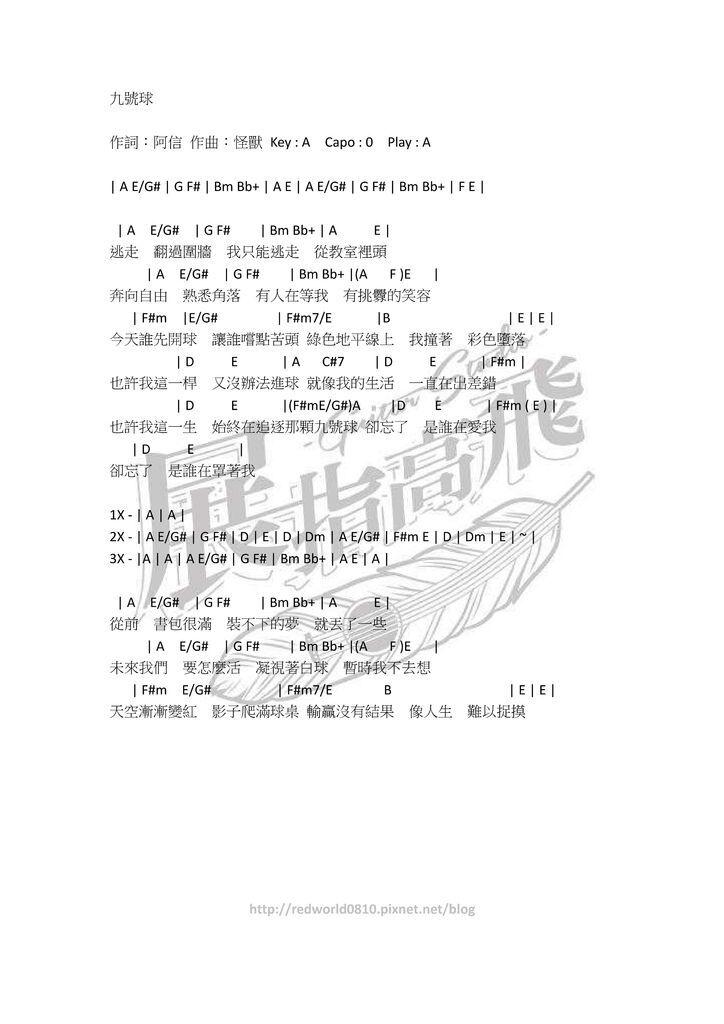 ( 吉他譜 ) 五月天 - 九號球