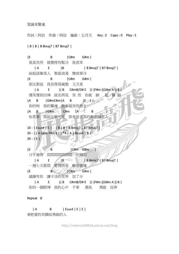 (吉他譜) 五月天 - 聖誕夜驚魂