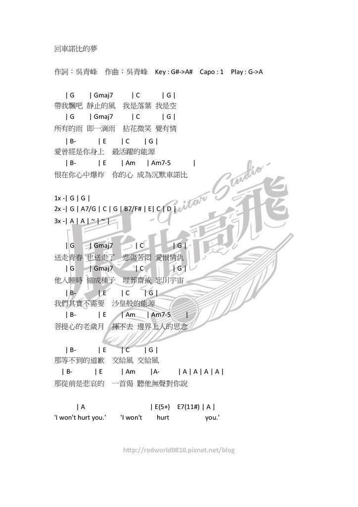 ( 吉他譜 ) 蘇打綠 - 回車諾比的夢