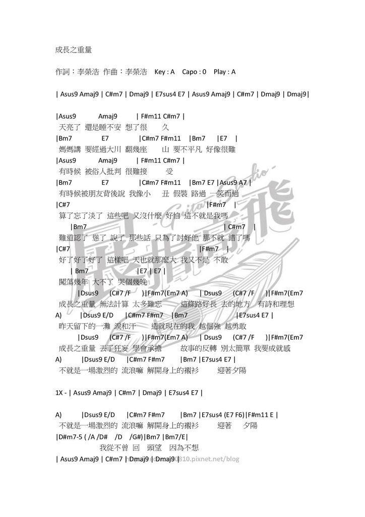 (吉他譜) 李榮浩 - 成長之重量