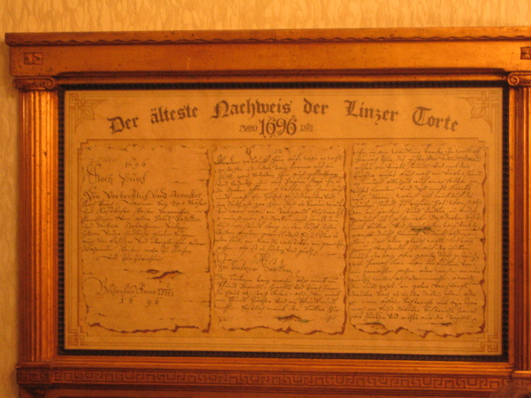 1696年的食譜Linzer Torte食譜