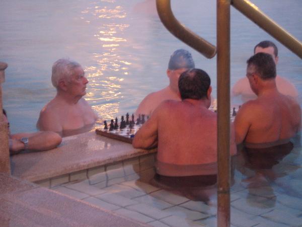 池裡還有設棋盤,是社交場所