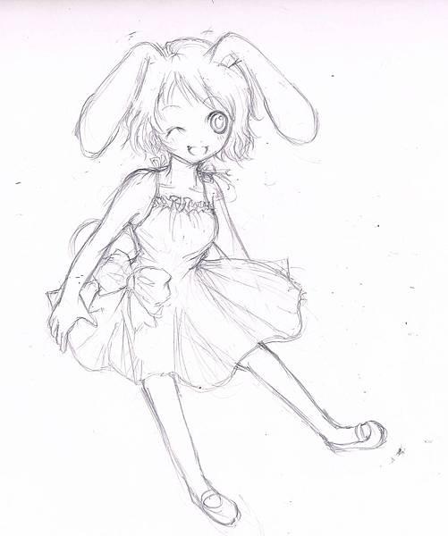 兔仔賀圖鉛筆稿