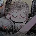 鬼太郎從他媽媽的墳墓中爬出來