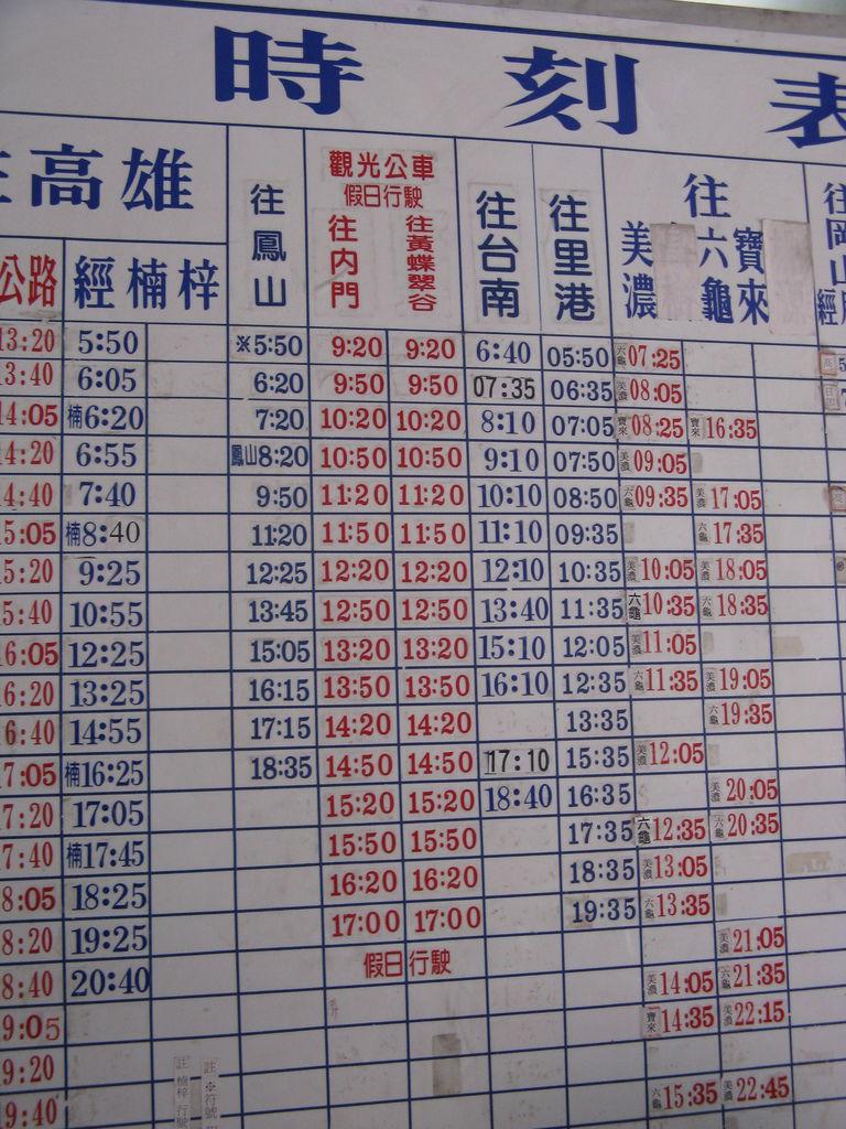 旗山南站部份時刻表