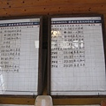 勝興車站內停駛前的下行時刻表及行時刻表,還留著停駛前的最後一班車167次的資訊