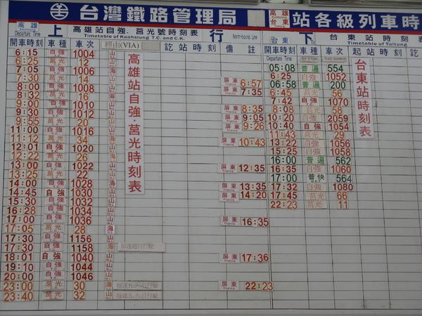 枋寮站內公佈的是高雄、台東兩站的時刻表