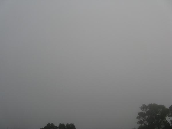 山頂起霧了