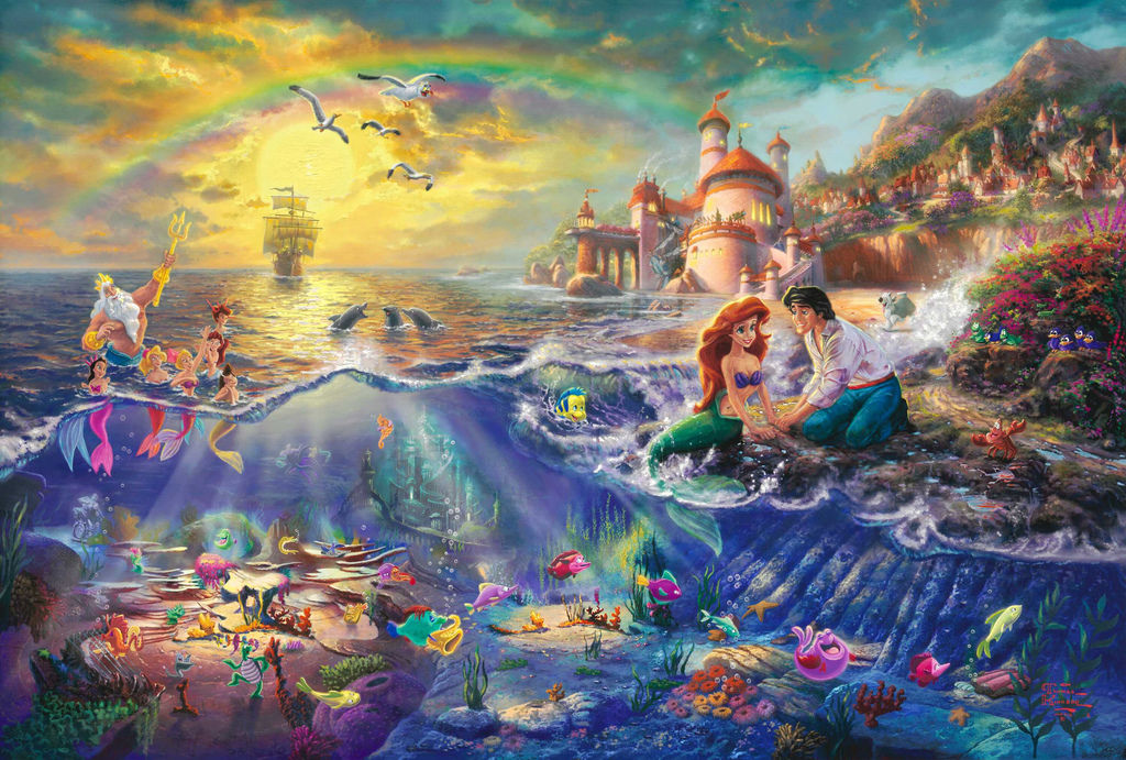 the-little-mermaid-thomas-kinkade-painting-walt-disney-pictures-princess-ariel-neptune