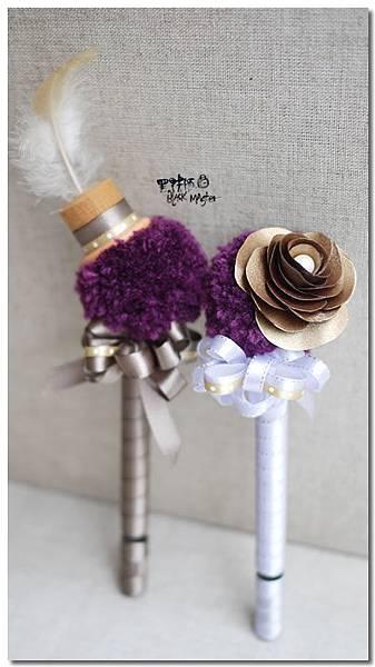 紫毛線球古銅金紙花婚禮簽名筆Jamie
