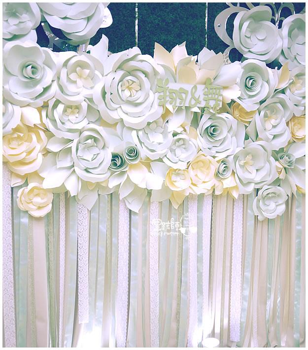 綠白x清新 紙花緞帶牆